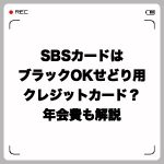SBSカードはブラックOKのせどり用クレジットカード?年会費も解説