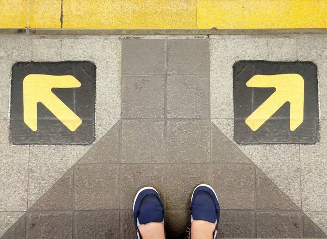 18374492 – man standing behind choice way to decision path